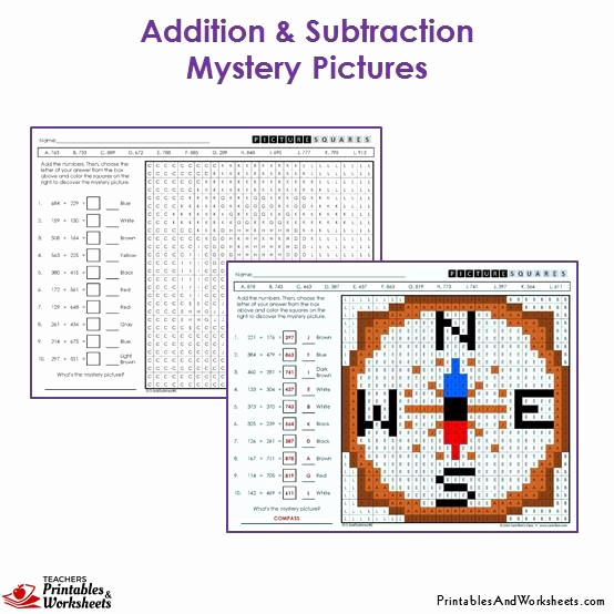 Addition Mystery Picture Worksheets Best Of 3rd Grade Addition and Subtraction Mystery Picture