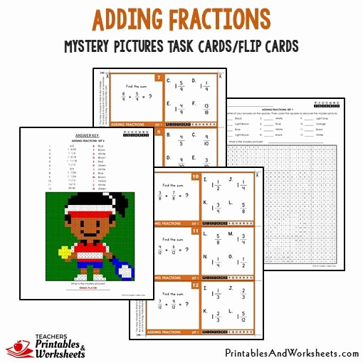 Addition Mystery Picture Worksheets Elegant Adding Fractions Mystery Picture Task Cards with Coloring