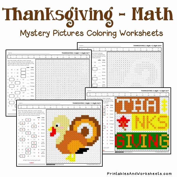 Addition Mystery Picture Worksheets Elegant Thanksgiving Addition Mystery Coloring Worksheets