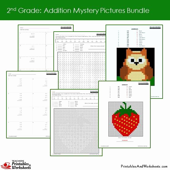 Addition Mystery Picture Worksheets Inspirational 2nd Grade Addition Mystery Coloring Worksheets