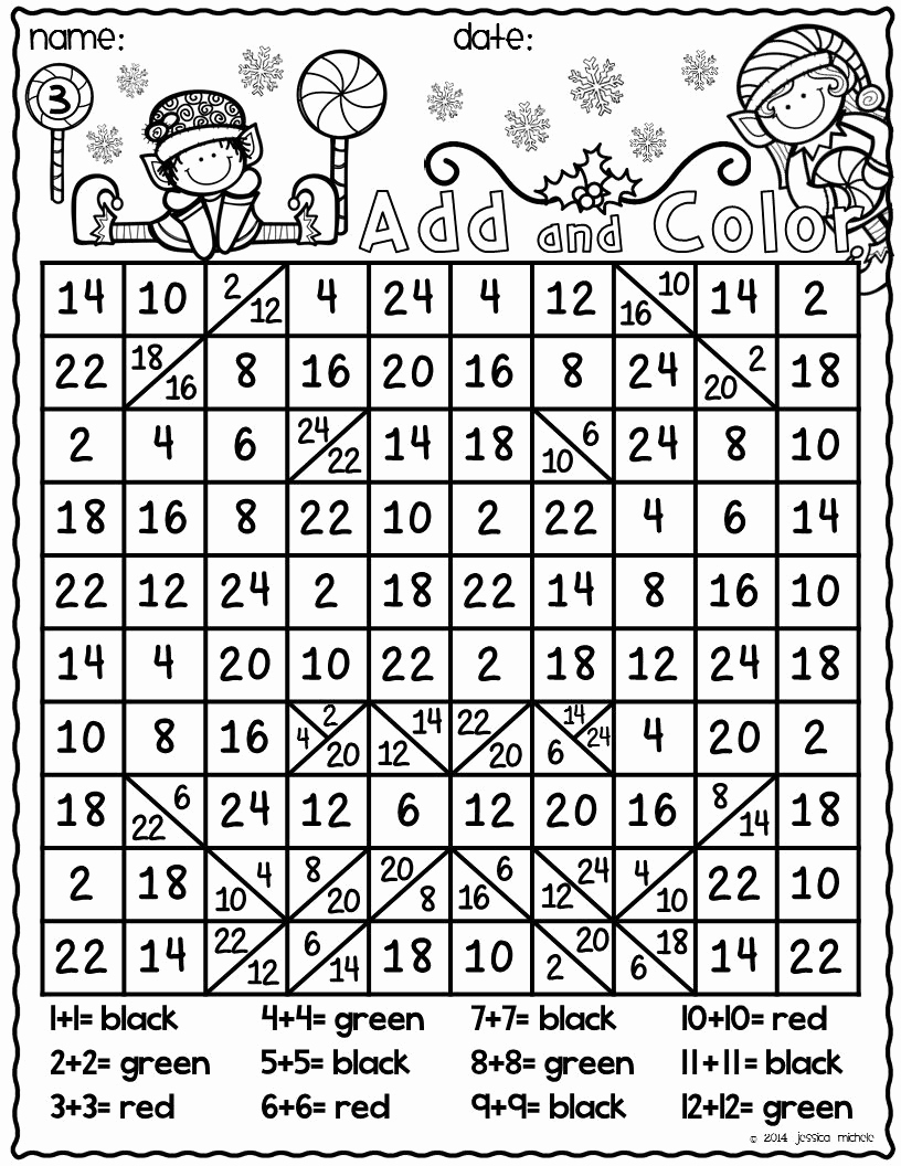 Addition Mystery Picture Worksheets Inspirational Add and Color Hidden Christmas Doubles Facts