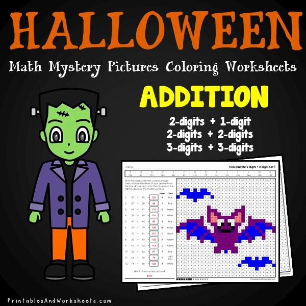 Addition Mystery Picture Worksheets Luxury Halloween Addition Mystery Coloring Worksheets