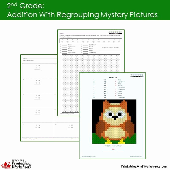Addition Mystery Picture Worksheets New 2nd Grade Addition with Regrouping Mystery