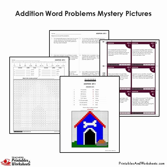 Addition Mystery Picture Worksheets Unique 4th Grade Addition Word Problems Coloring Worksheet Task