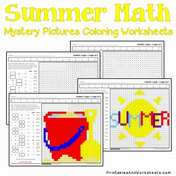 Addition Mystery Picture Worksheets Unique Summer Addition Mystery Coloring Worksheets