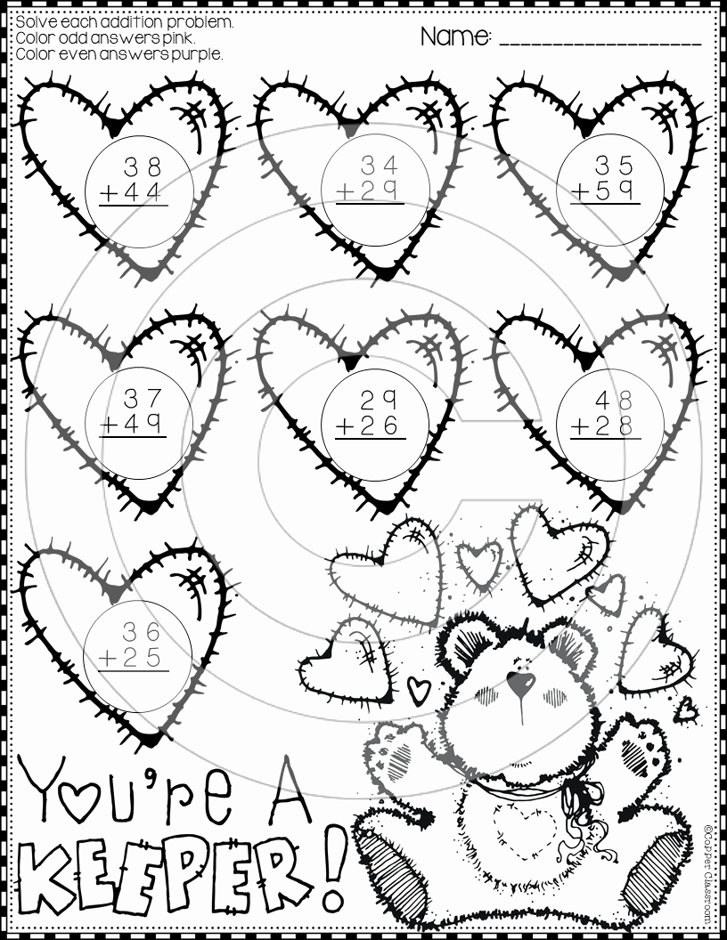 Addition with Regrouping Coloring Worksheets Awesome Valentine 2 Digit Addition with Regrouping Color by Code