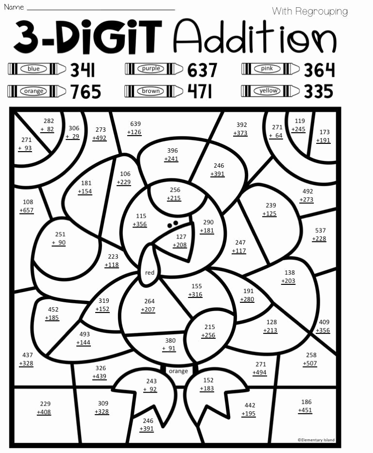 Addition with Regrouping Coloring Worksheets Elegant 3 Digit Addition with Regrouping Coloring Worksheets