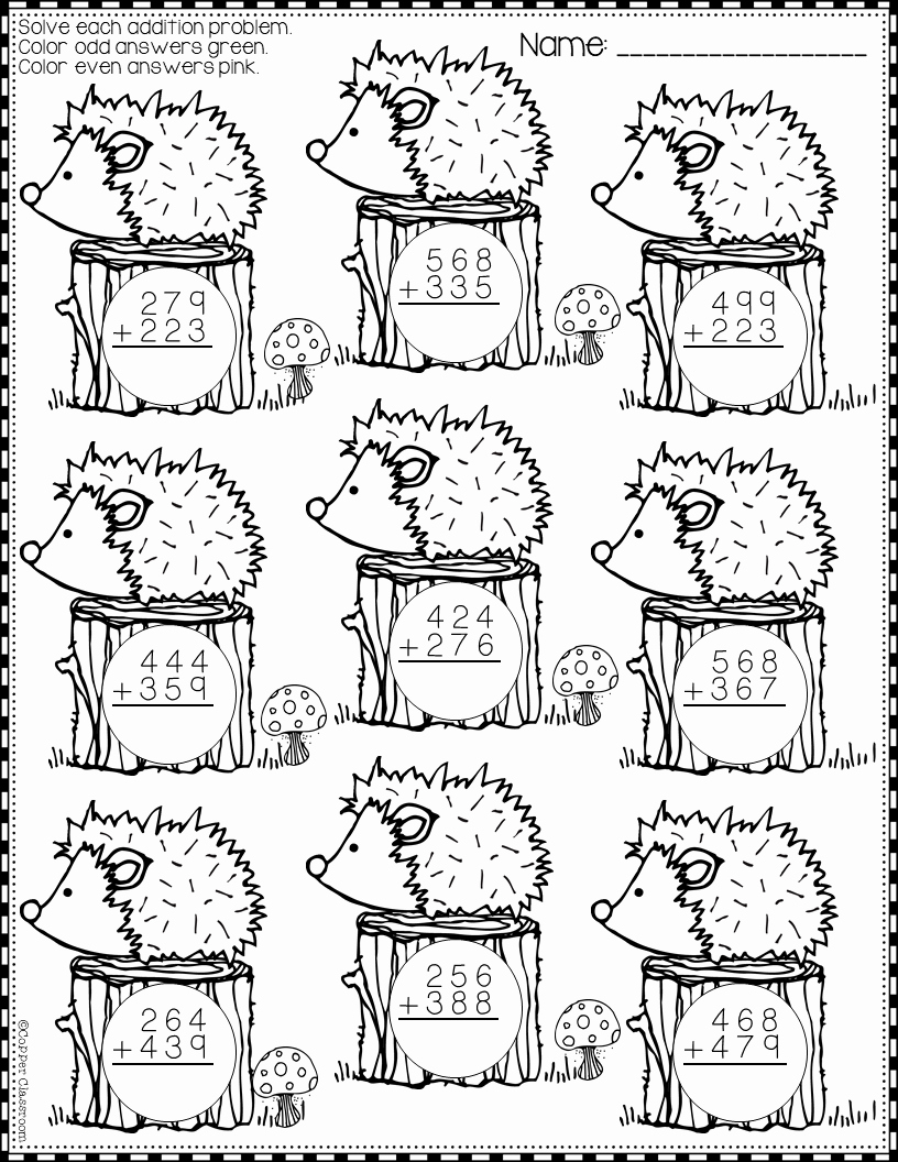 Addition with Regrouping Coloring Worksheets Lovely Summer 3 Digit Addition with Regrouping Color by Code