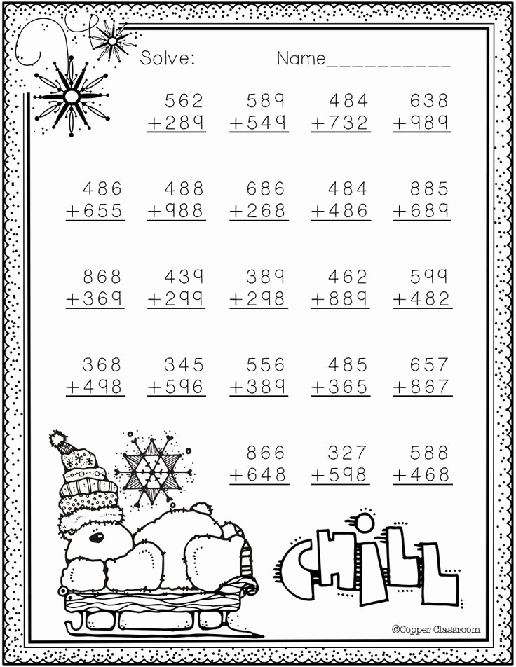 Addition with Regrouping Coloring Worksheets Luxury 3 Nbt 2 Winter themed 3 Digit Addition with Regrouping