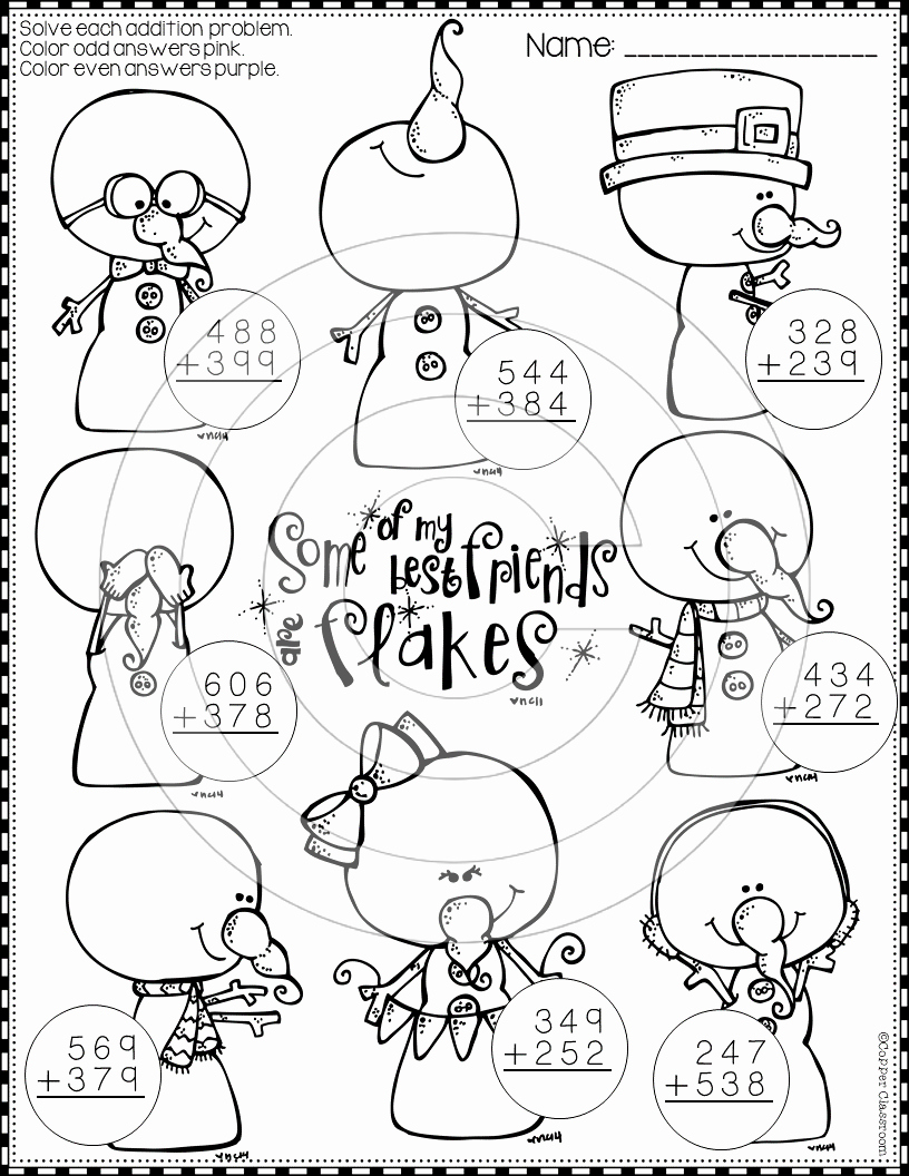 Addition with Regrouping Coloring Worksheets Luxury Winter 3 Digit Addition with Regrouping Color by Code