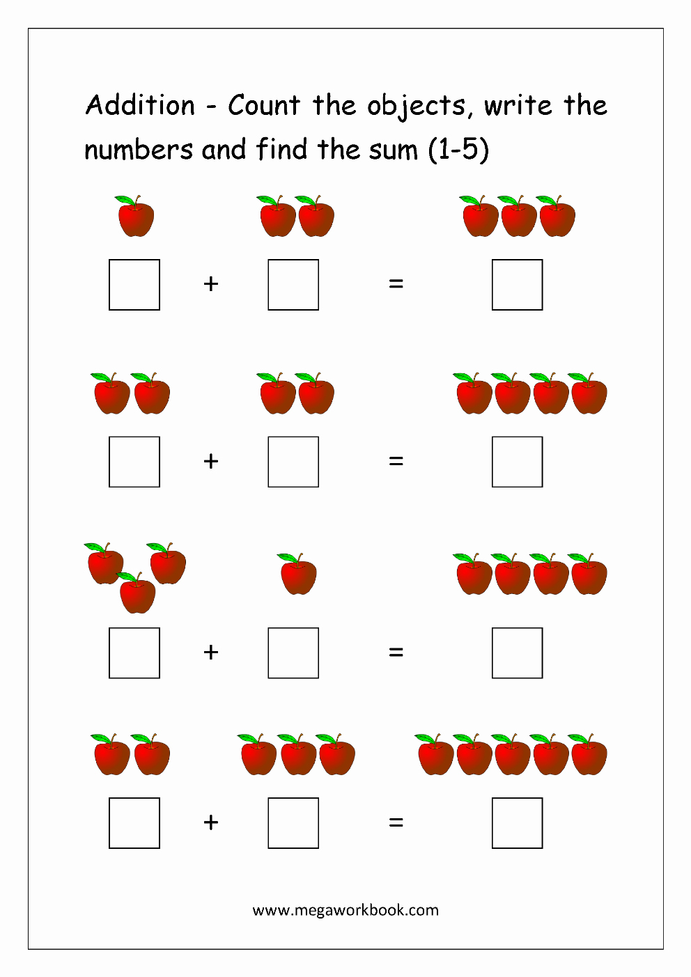 Addition Worksheets with Pictures New Free Printable Number Addition Worksheets 1 10 for