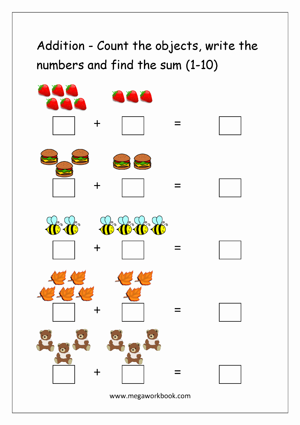 Addition Worksheets with Pictures Unique Free Printable Number Addition Worksheets 1 10 for
