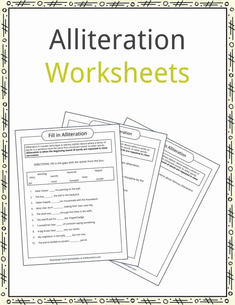 Alliteration Worksheets 4th Grade Awesome Lliteration is A Poetic Technique or Literary Stylistic