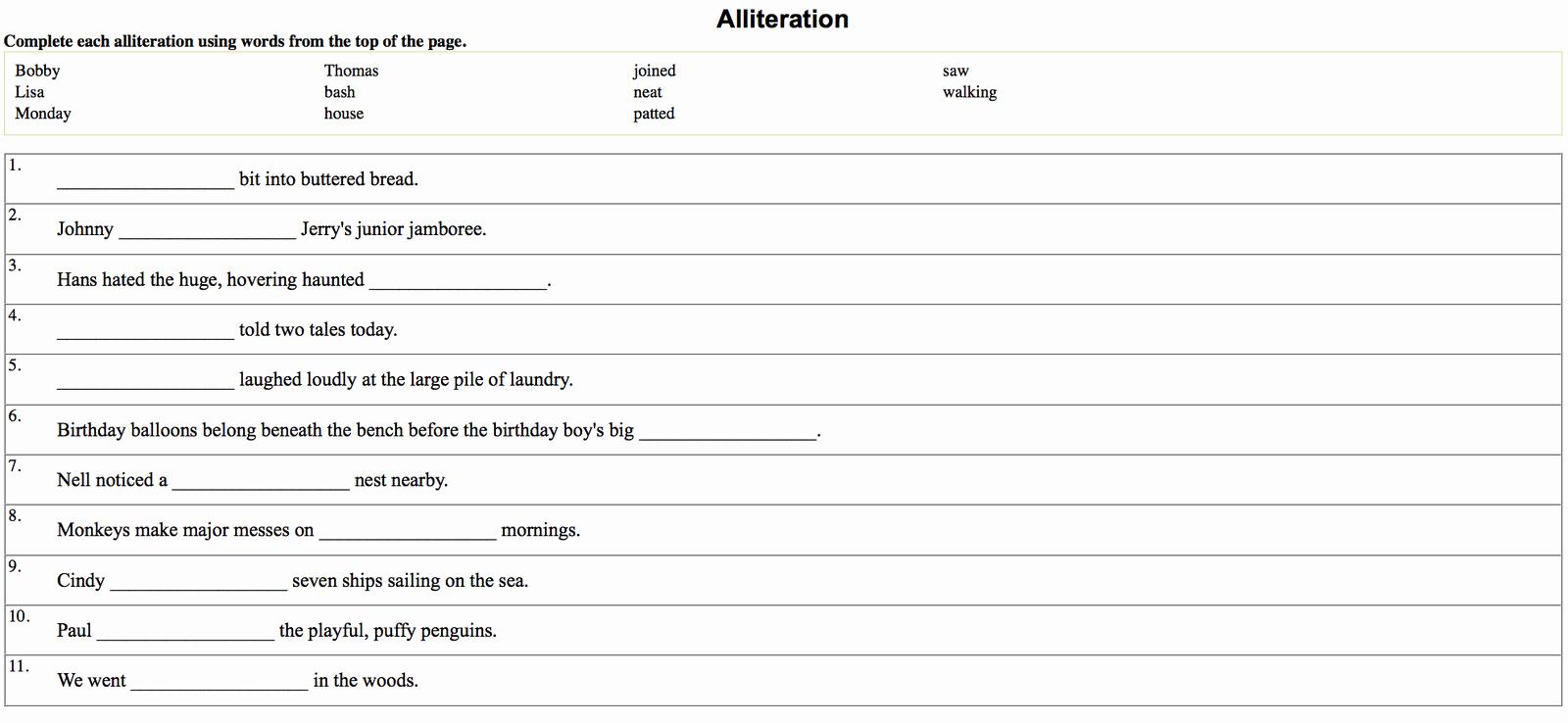 Alliteration Worksheets 4th Grade Inspirational 4th Graders Alliteration