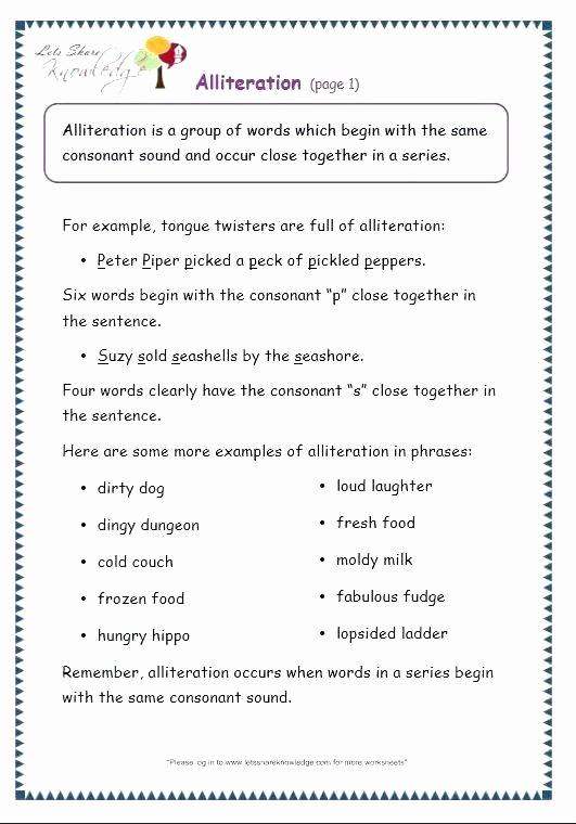 Alliteration Worksheets 4th Grade Inspirational Alliteration Worksheets 4th Grade Free Printable