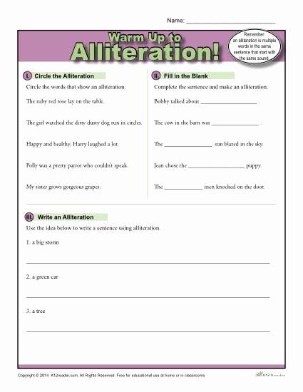 Alliteration Worksheets 4th Grade Unique Alliteration Warm Up Activity