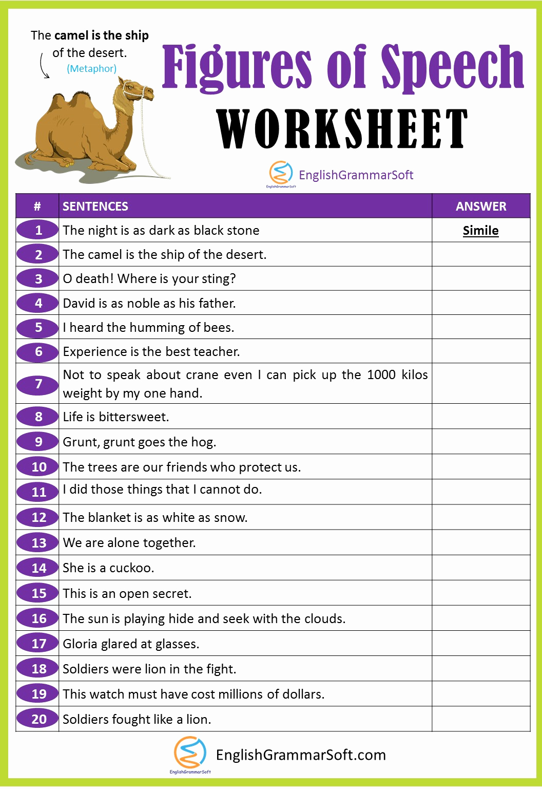 Alliteration Worksheets with Answers Awesome Figures Of Speech Worksheet with Answers Learn English