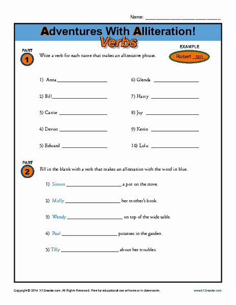 Alliteration Worksheets with Answers Best Of Adventures with Alliteration Verbs Worksheet for 2nd