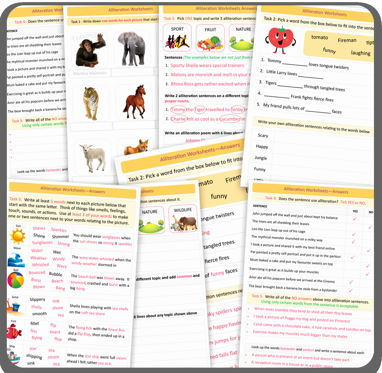 Alliteration Worksheets with Answers Fresh Alliteration Literacy Worksheets Visual Tasks with