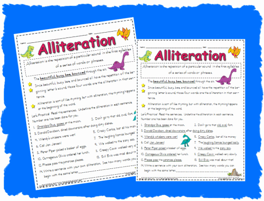 Alliteration Worksheets with Answers Fresh Alliteration Worksheet Printable Worksheet with Answer Key