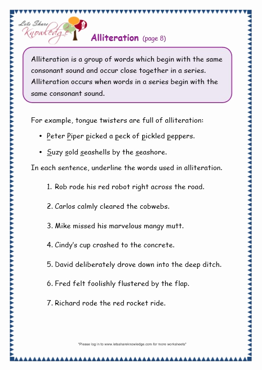 Alliteration Worksheets with Answers Luxury Grade 3 Grammar topic 33 Alliteration Worksheets Lets