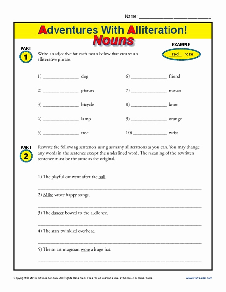 Alliteration Worksheets with Answers New Adventures with Alliteration Nouns Worksheet for 2nd