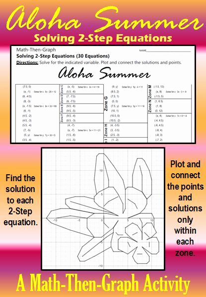 Aloha Math Worksheets Awesome Aloha Summer A Math then Graph Activity solve 2 Step