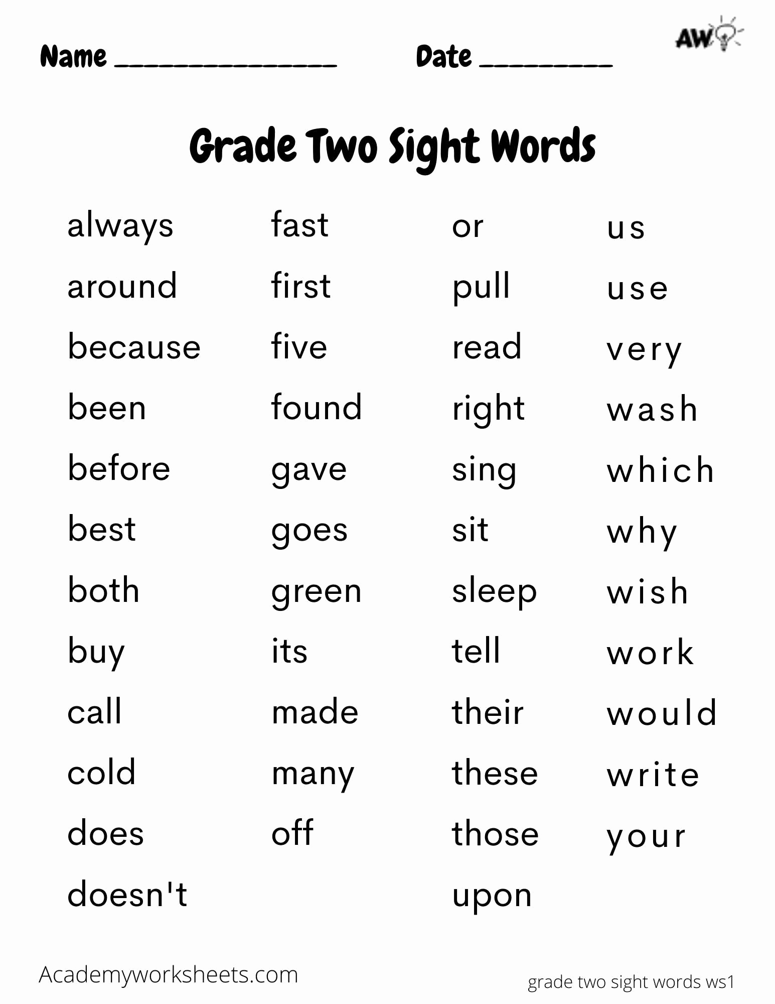 Alphabetical order Worksheets 2nd Grade Beautiful 2nd Grade Sight Words Dolch Academy Worksheets