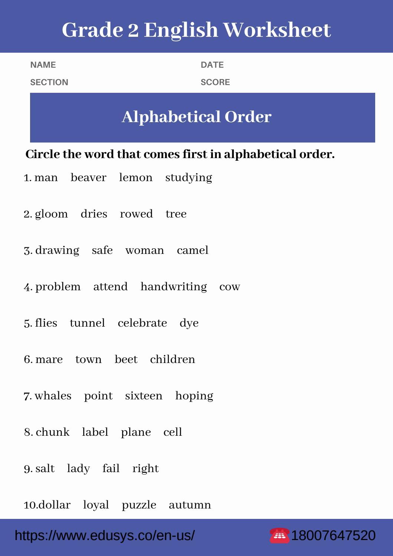 Alphabetical order Worksheets 2nd Grade Best Of 2nd Grade English Grammar Worksheet Pdf 2019 by Nithya issuu