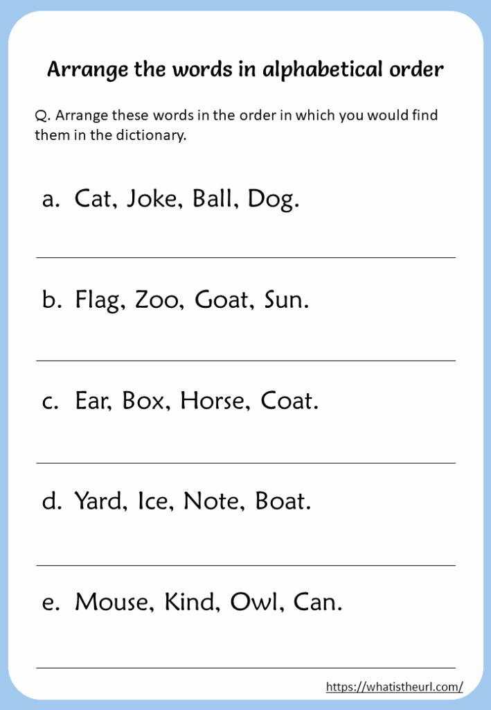 Alphabetical order Worksheets 2nd Grade Elegant Arrange the Words In Alphabetical order Worksheet Your