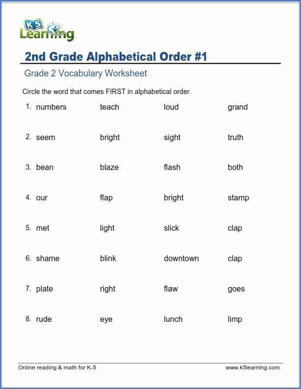 Alphabetical order Worksheets 2nd Grade Inspirational Free Printable Alphabetical order Worksheets 2nd Grade