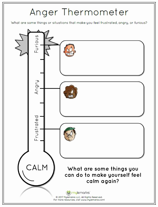 Anger thermometer Worksheet Beautiful Pin On Anger Workbook