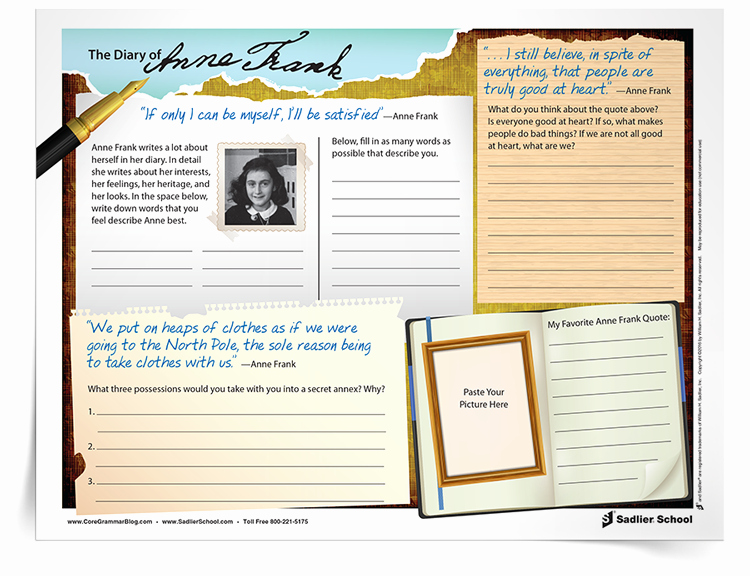 Anne Frank Worksheets Middle School Beautiful Diary Of Anne Frank Activities that Will Strengthen