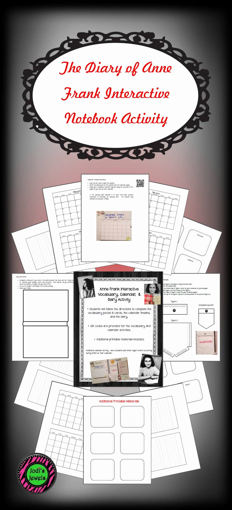 Anne Frank Worksheets Middle School Elegant Anne Frank Interactive Vocabulary Calendar and Diary
