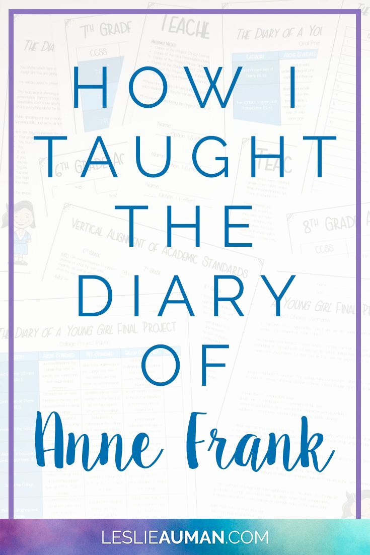 Anne Frank Worksheets Middle School Inspirational How I Taught the Diary Of Anne Frank In 2020
