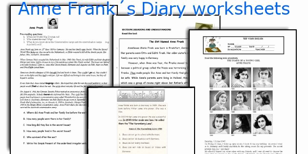Anne Frank Worksheets Middle School Lovely Anne Frank´s Diary Worksheets