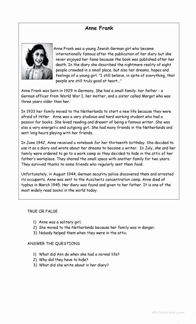 Anne Frank Worksheets Middle School Luxury Anne Frank Worksheets Middle School Anne Frank Worksheets