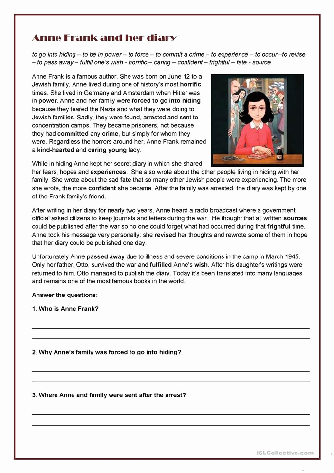 Anne Frank Worksheets Middle School New Anne Frank and Her Diary English Esl Worksheets In 2020