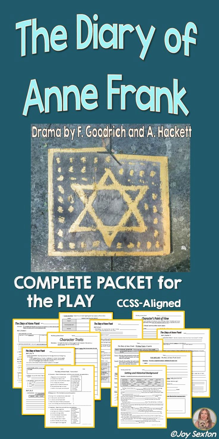 Anne Frank Worksheets Middle School New Diary Of Anne Frank Play Student Ready Plete Packet