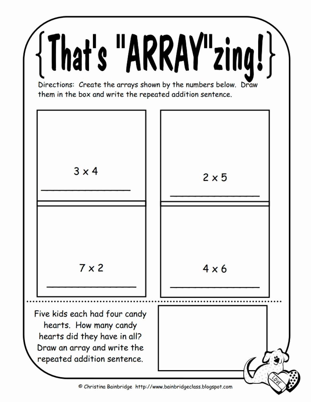 Arrays Worksheets Grade 2 New 2nd Grade Array Worksheets for Learning Array Worksheets