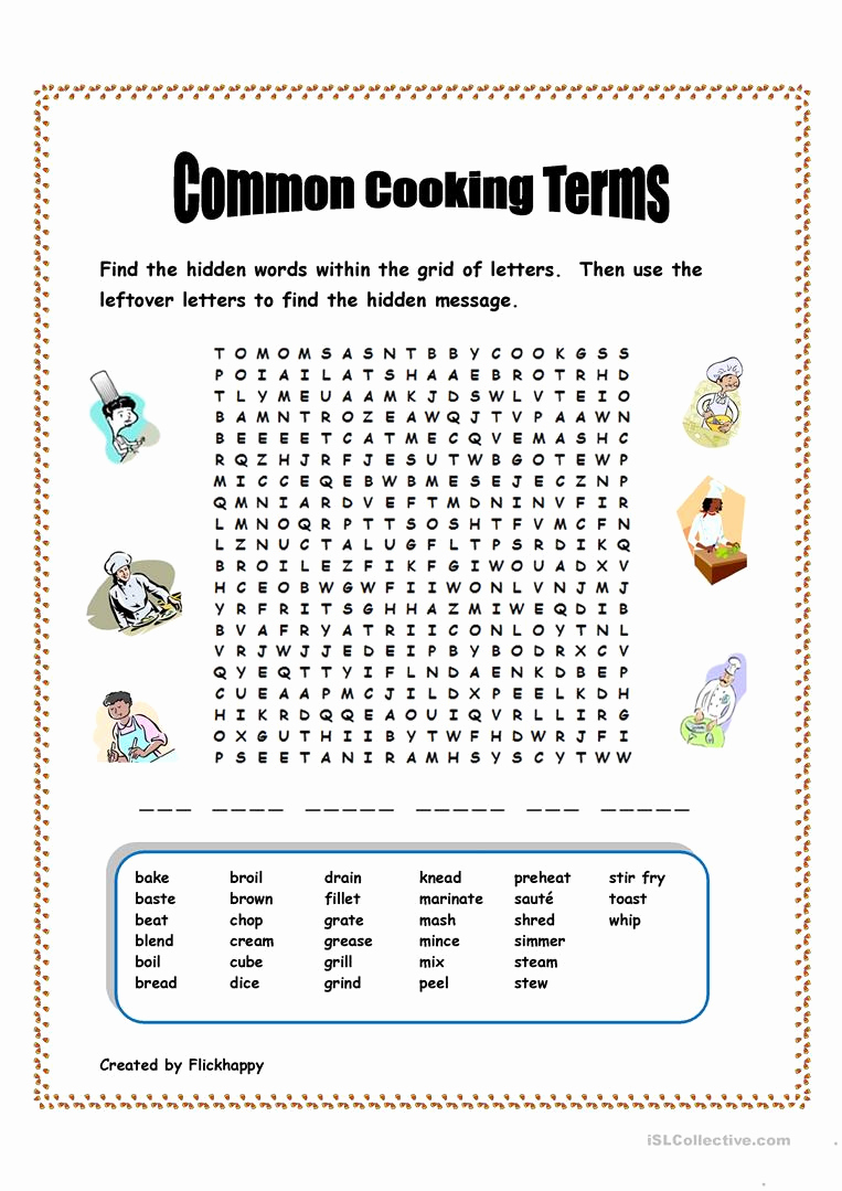 Basic Cooking Skills Worksheets Awesome Basic Cooking Terms Worksheet Nidecmege