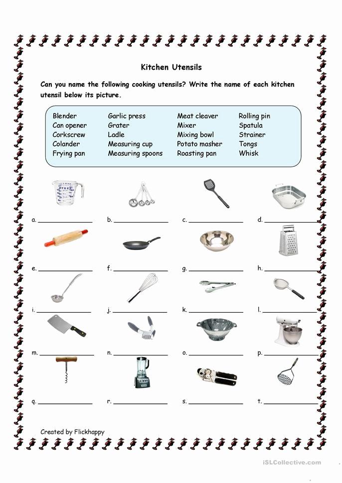 Basic Cooking Skills Worksheets Beautiful 30 Basic Cooking Skills Worksheets