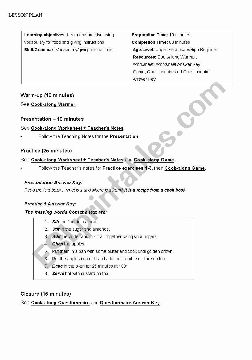 Basic Cooking Skills Worksheets Elegant 30 Basic Cooking Skills Worksheets