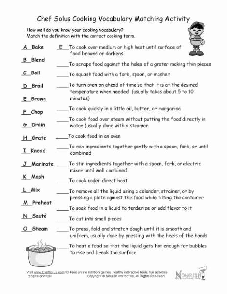 Basic Cooking Skills Worksheets Elegant Basic Cooking Terms Worksheet Answers Basic Cooking Terms