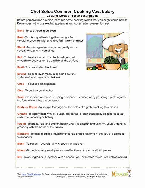 Basic Cooking Skills Worksheets New 30 Basic Cooking Skills Worksheets