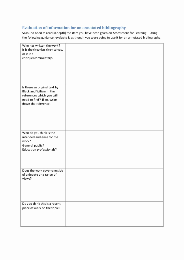 Bibliography Practice Worksheets Fresh Evaluation Of Information for An Annotated Bibliography
