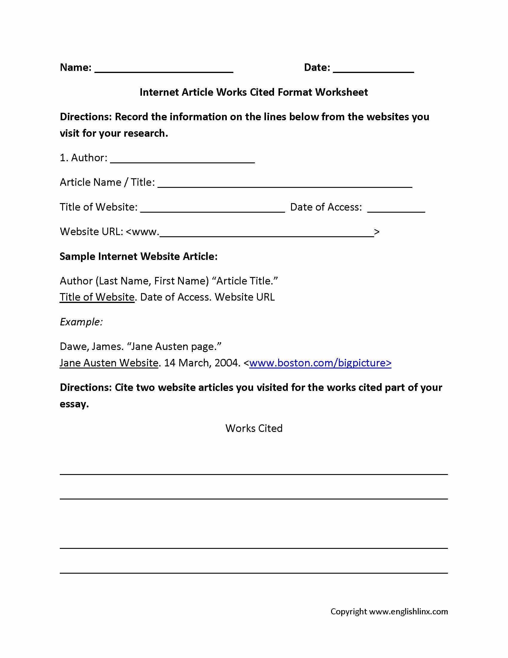 Bibliography Practice Worksheets Inspirational Mla Citation Practice Worksheet