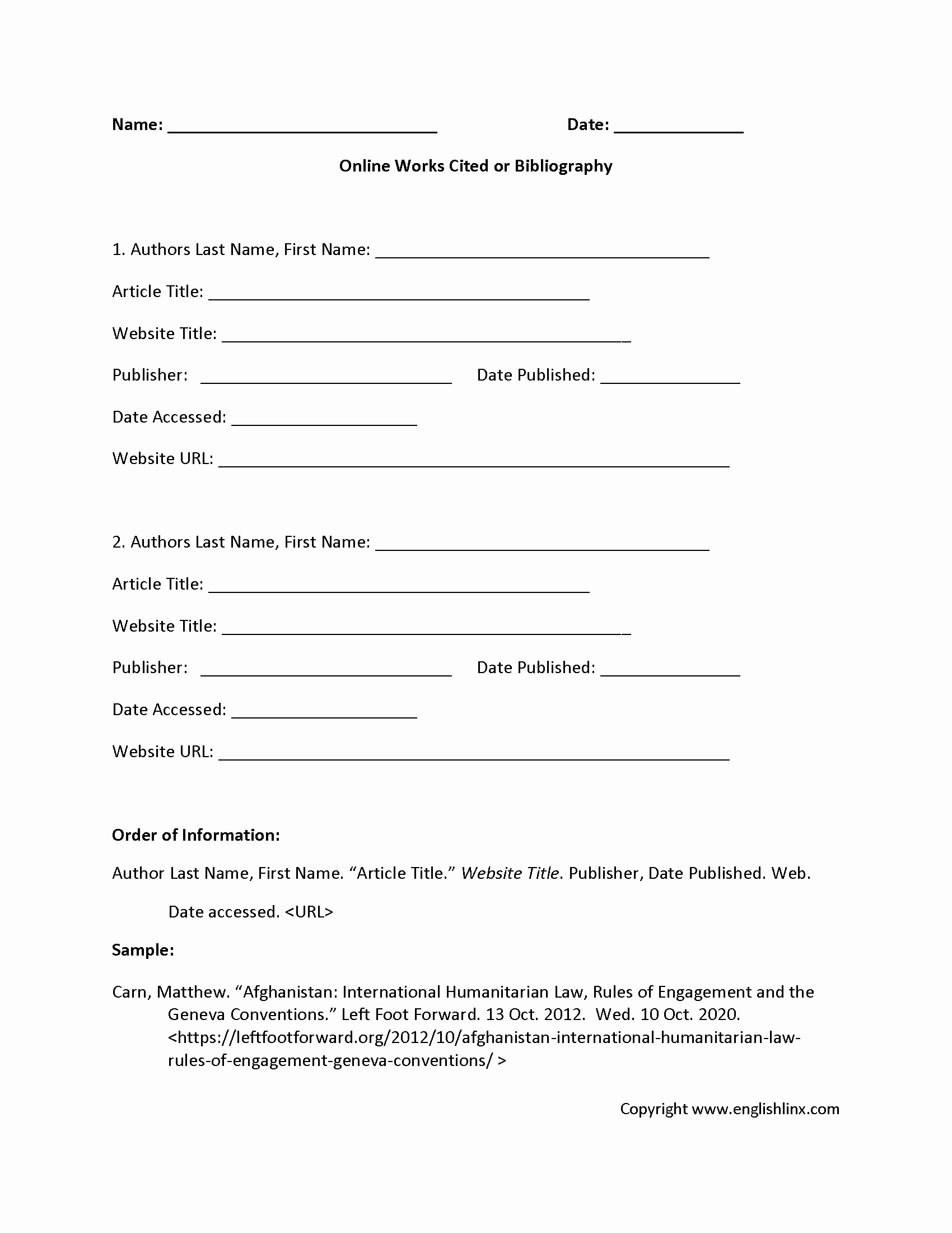 Bibliography Practice Worksheets Luxury Mla Works Cited Practice Worksheet