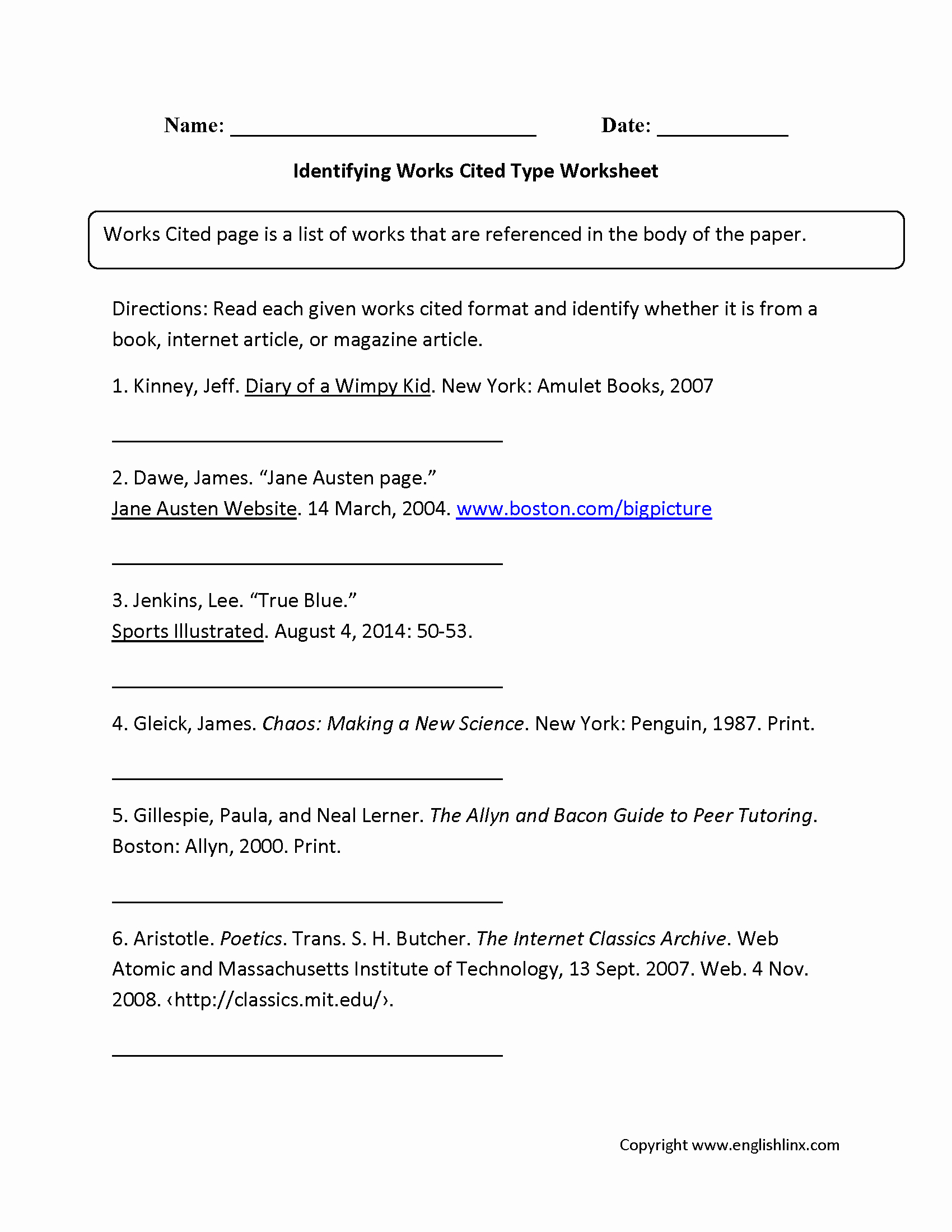 Bibliography Practice Worksheets New Identifying Works Cited Worksheets