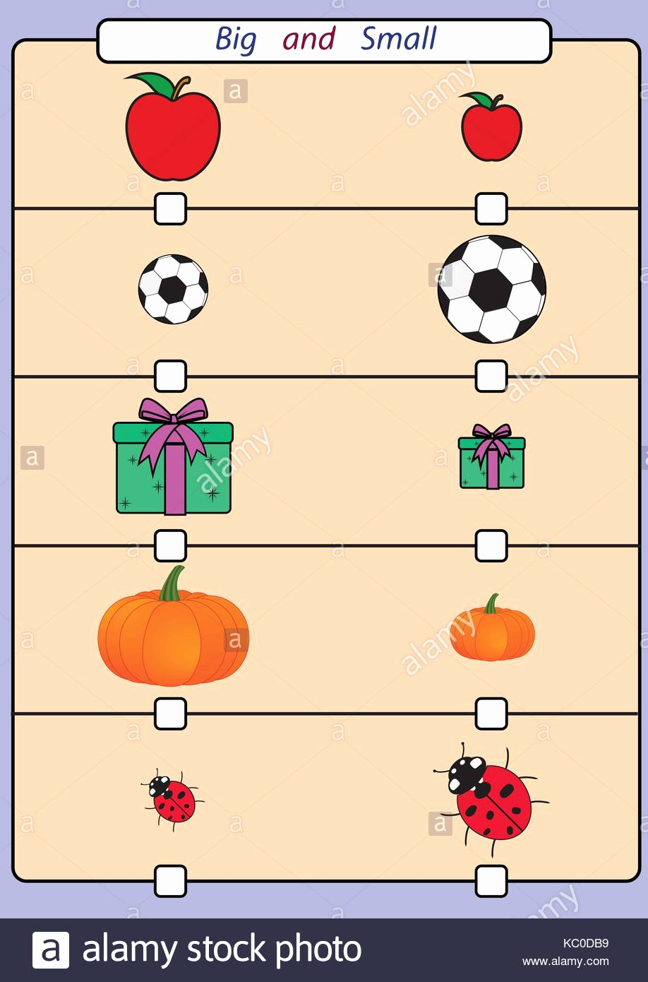 Big Vs Little Worksheets Awesome Find Big or Small Worksheet for Kids Stock Vector Art